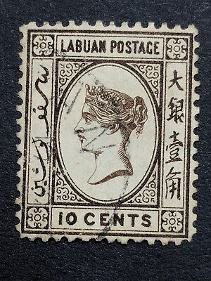 Labuan 1892-93 10cent Sepia Brown. Used. SG Cat 43a