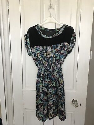 Zara Woman Floral 100 % Pure Silk Printed Shift Dress Xs Sold Out
