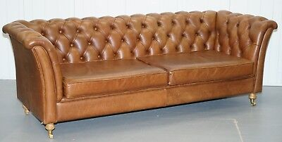 Chestnut Brown Leather Chesterfield Sofa With Turned Oak Legs & Castors