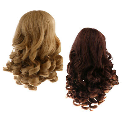 Wavy Hair Wig for 18'' American Girl Doll DIY Making Supplies Khaki & Brown