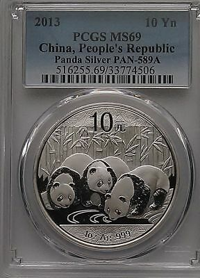 PCGS 2013 China PANDA 10¥ Yuan Coin MS69 Blue Label PRC Mint Silver 1oz .999 Ag