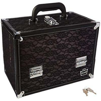 Stylist Train Makeup Case Black Lace Over Silver With 6 Cantilever Trays