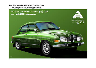 Saab 96 A3 Poster Illustration