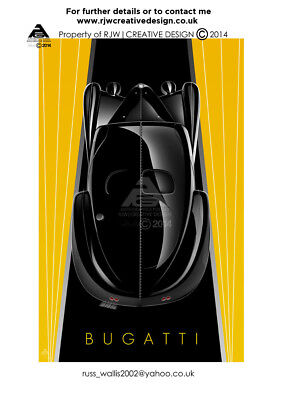 Bugatti Type 57 Atlantic A3 Poster Illustration