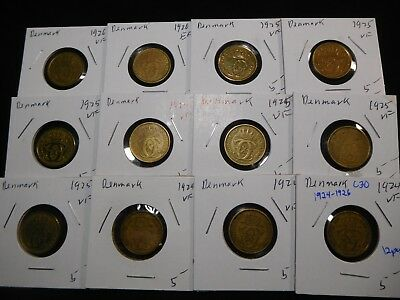 C30 Denmark 1924-1926 1/2 Krone Mixed Group 12 pcs Total
