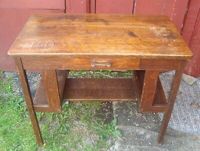 Antique Mission Style Desk Mission Oak Arts & Crafts Oak 1 drawer Library Table