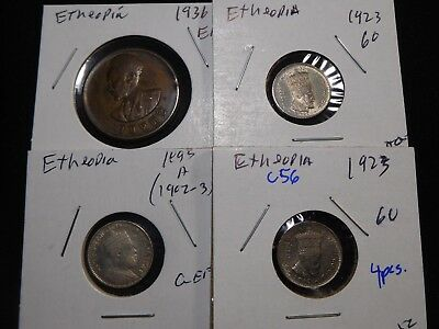 C56 Africa Ethiopia Coins Mixed Group 4 pcs