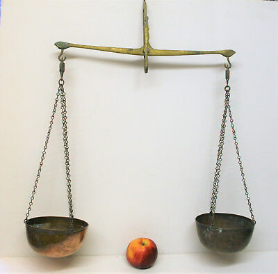 Antique Victorian Hanging Balance Scales Copper and Brass Large 28in Tall