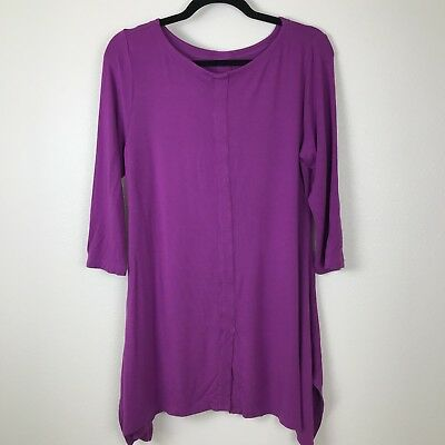 Soft Surroundings 27126 Timely Scoop Top Tunic Size M Fuchsia 3/4 Sleeve F48
