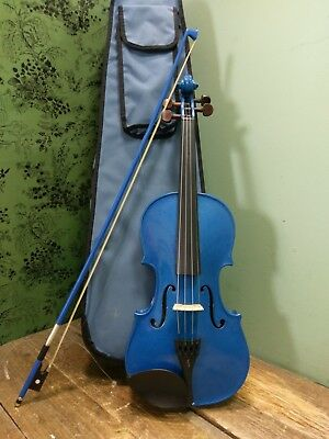 Stentor Harlequin metallic blue violin full size 4/4 with case, bow & rosin.