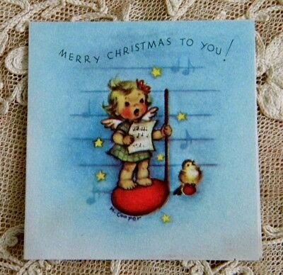 Vintage 1947 Marjorie Cooper Christmas Card Tiny Singing Angel Music Note Unused