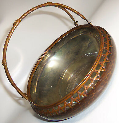 Antique Japanese Hammered Copper Bowl WOVEN EDGE Sterling Silver Interior SIGNED