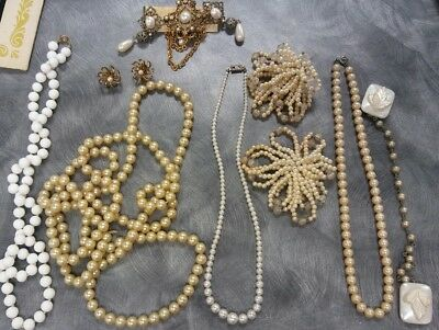 Vintage Pearl Earrings & Necklaces, Lot of 8