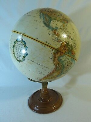 """Vintage Replogle World Classic 12"""" USSR Globe ~ Metal Axis Wood Base Approx 1985"""