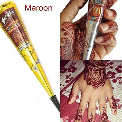 6 X Indian Imported Golecha Red/Maroon Henna Cone Pen Mehandi Paste Uk Arabic