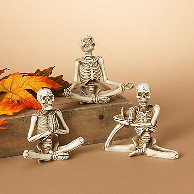 New Set Of 3 Skeletons Doing Yoga 2430530 Mint With Tags