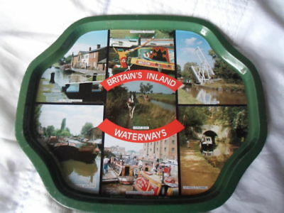Vintage Metal Serving Tray.` Britain`s Inland Waterways`canal Boats/barges  Etc.