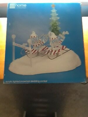 JCPENNEY Home Collection ACRYLIC LIGHTED SNOWMAN SLEDDING CONTEST