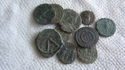 Lot Of 10 Roman Bronze Coins Uncleaned Rare