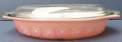 Lovely Vintage Retro Jobling Pyrex Pink Daisy Divided Baker with Lid 1958