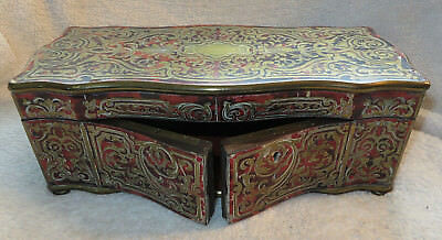 Antique Boulle Brass Inlaid Faux Red Tortoise Shell Hinged Top & Front Box
