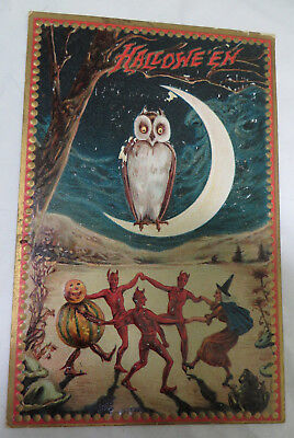 Vintage Raphael Tuck Embossed Halloween Postcard Witch, Black Cat, Moon, Owl