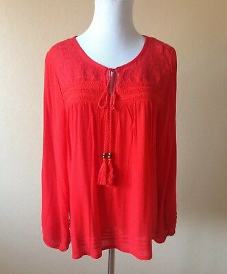Solitaire NWT Sz Large Red Flowy Peasant Blouse Top Tie Tassel Front Long Sleeve