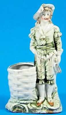 Antique Porcelain French Courtier Figurine Toothpick Match Holder  Nice Detail!