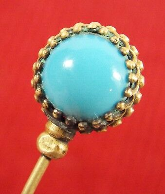 Antique Victorian Hat Pin Robin's Egg Blue Glass With Brass Trim