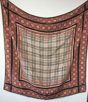 Large Sir Clayton Vintage Silk Square Scarf W. Rolled Hand Stitched Edges