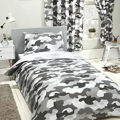Grey Army Camouflage Single Duvet Cover Set Reversible Kids Bedding