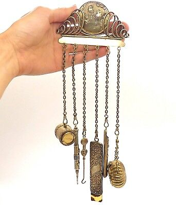 Superb RARE Antique Victorian 925 Sterling Silver Exclusive Chatelaine Chain