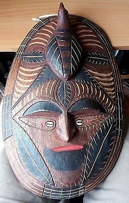 Vintage Possibly Papua New Guinea Tall Wooden Face Mask Carved Carving With Bird