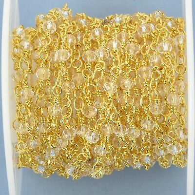 1 yard CLEAR Crystal Rosary Chain, GOLD double wrap, 3mm rondelle fch0987a