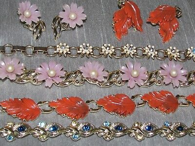Vintage Lot of 4 Choker Necklaces & 2 Sets Clip Earrings 1 Coro