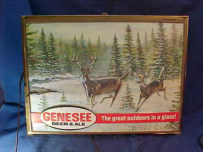1980s GENESEE BEER Shadow Box ILLUMINATED BEER SIGN w WHITE TAIL DEER Image