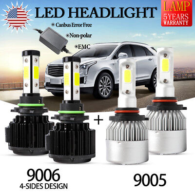 4X 9006 9005 4-Sides Canbus LED Headlight 240W 32000LM 72W 8000LM H/Lo Beam Bulb