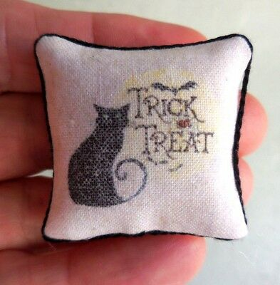 Dollhouse Miniature ~ Halloween Black Cat Pillow