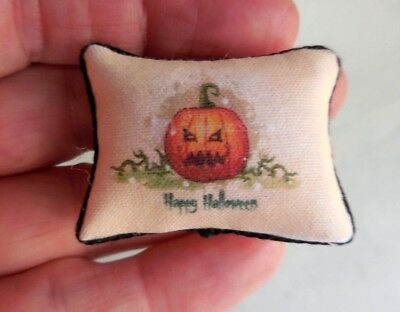 Dollhouse Miniature ~ Halloween Angry Pumpkin Pillow