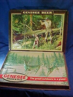 2-1980s GENESEE BEER Illuminated BEER SIGN Front Panel w HUNTING Scenes