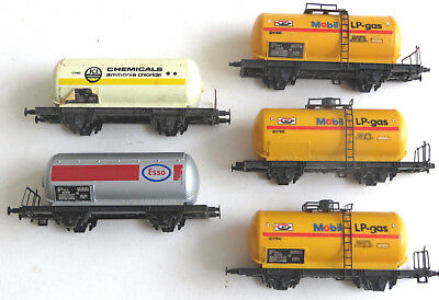 5 x Lima HO gauge 4 wheel tank wagon job lot, spares or repairs Mobil ICI Esso