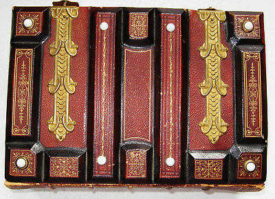 Empty Antique Sculptured Leather Photo Album Room For 100 Cdv Photos As Found