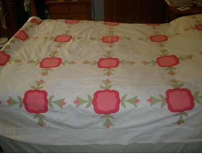 "Antique Rose of Sharon Quilt Top - 76"" x 92"" - Pinks, Greens"
