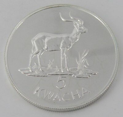 1979 Zambia 5 Kwacha Conservation 925 Silver Dollar Proof - Item# 7608
