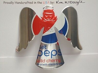 Angel Christmas Ornament Handmade Recycled Aluminum Diet P Cherry Soda Pop Can