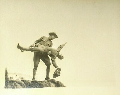 WWI Army US SNAPSHOT Soldiers playing around posing on cliff edge