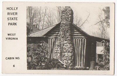 RPPC~1950s~Hacker Valley,WV~HOLLY RIVER STATE PARK~LOG CABIN~Webster County