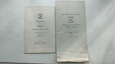 Derbyshire County Council Jubilee Lunch & Table Plan 1939 Derby Assembly Rooms