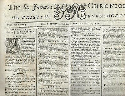 """1794 English newspaper  """"THE ST. JAMES'S CHRONICLE"""" London,  May 24- 27, 1794"""