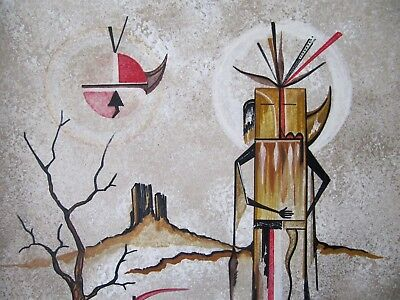 "David Chethlahe Paladin Orginal Navajo Art Painting~titled ""EARTH SPIRITS"""
